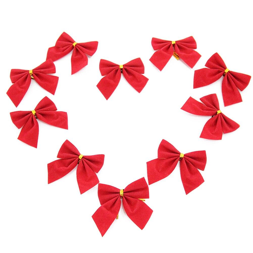 10Pcs Ribbon Christmas Decoration Bows Tree Bowknots Festival Party Garden Ornament Brooch Pin Decor