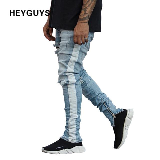 c9c5912f53 HEYGUYS nuevos pantalones de moda para hombre skinny jeans hombre  streetwear ripped jeans para hombre pantalones