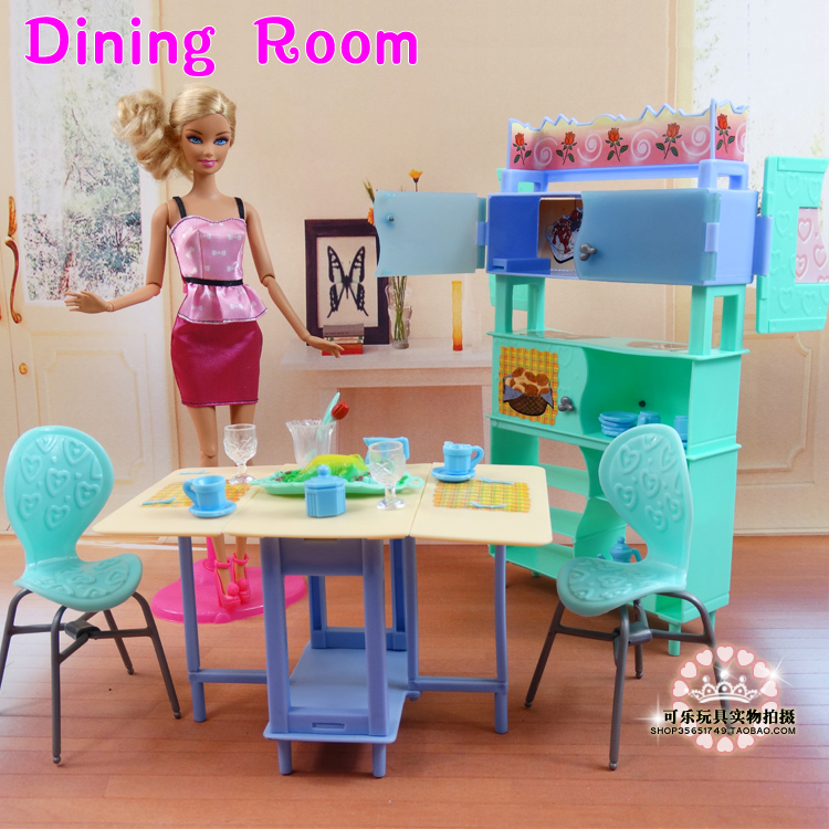 For barbie Kelly Ken Doll Green Dining Table Showcase Set / Dollhouse Dining Room Furniture Cup Chair Accessories Girls Gift
