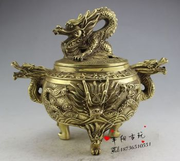 Chinese collection copper dragon statue Incense burner