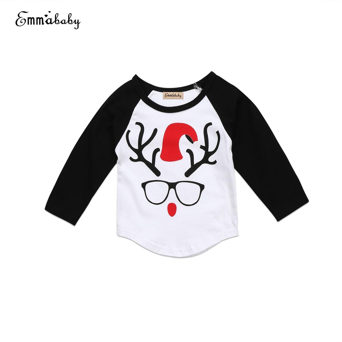 T-Shirt Tees Reindeer Christmas Newborn-Baby Boy Cotton Kid Xmas Tops Glasss-Printing