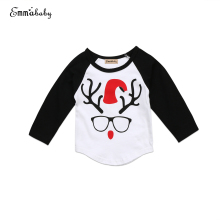 Newborn Baby Kid Boy Xmas Reindeer T-shirt Babies Christmas Glasss Printing Clothes Cotton Tees T-shirts Tops Clothing