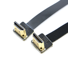 20cm FPV Dual Up Angled 90 Degree HDMI Type A Male to Male HDTV FPC Flat Cable for Multicopter Aerial Photography 50cm 19 6 fpv ultra thin ribbon hdmi cable type d straight male to up angled 90 degree male type d hdtv fpc flex soft cable