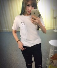 Women T Shirt 2017 Summer Style T-shirt Print Middle Finger Pocket Cat Harajuku O-neck Short Sleeve Cotton Couple Tee Plus Size