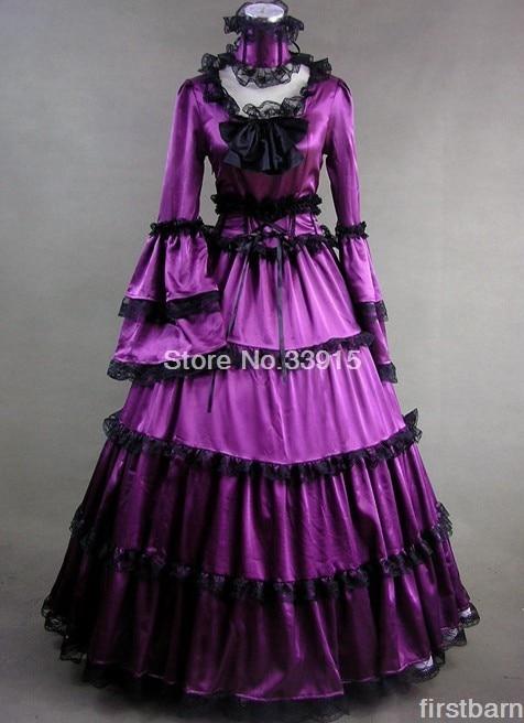 Custom Made Elegant Purple Satin Victorian Dress Halloween Gothic Gown Renaissance Dress Lolita Costume