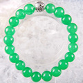 "Free Shipping Silver Stretch 10mm Round Beads Natural Stone Green Jade Bracelet 8"" 1Pcs LH1792"