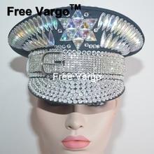 Hombre de cristal holográfica tocado Festival Rave fiesta novia capitán  sombrero militar brillante EDM etapa Dj traje de la danz. 7be70946978