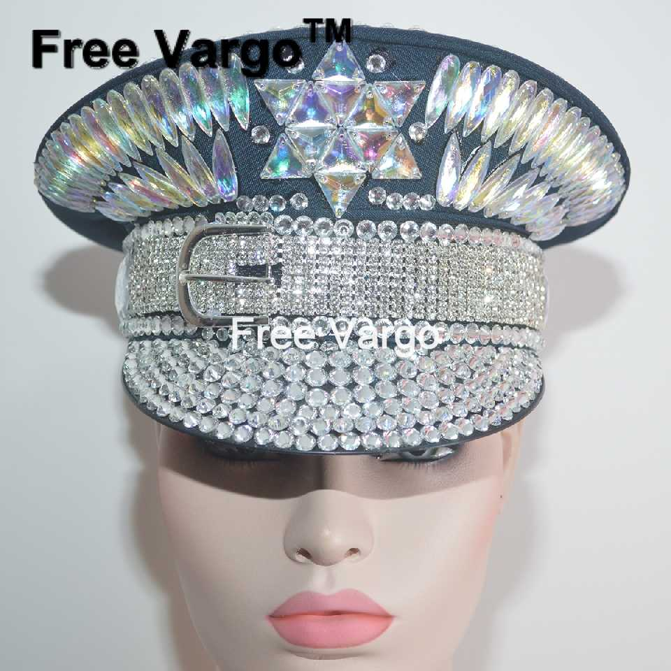 d2cc1fceb0bff Detail Feedback Questions about Burning Man Holographic Crystal Headdress  Rave Festival Party Headpiece Captain Military Hat Sparkly EDM Stage Dj  Dance ...