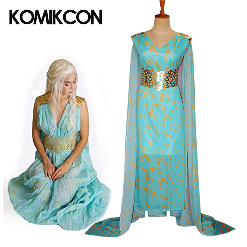 Game of Thrones Daenerys Targaryen Cosplay Halloween Costumes For Women Blue Fancy Dress Chiffon Dance Party Stage Performance