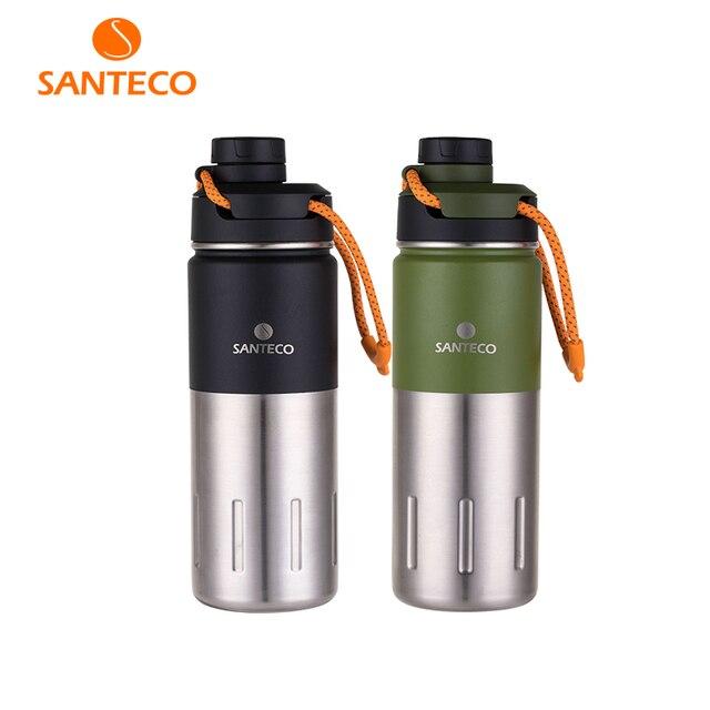 Santeco 500 Ml Giữ Nhiệt Có Dây Treo Tường Đôi Bình Giữ Nhiệt Chân Không Thép Không Gỉ Trà Cà Phê Sữa Du Lịch Nhiệt Bình Quà Tặng Thermocup
