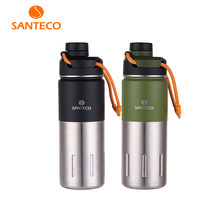 Santeco 500ml Thermos With Rope Double Wall Stainless Steel Vacuum Flask Coffee Tea Milk Travel Thermo Bottle Gifts Thermocup(China)
