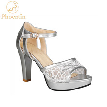 Phoentin 2020 sandalias altas de mujer de malla de verano sandalias de plataforma de plata tiradores, parches de cuero de PU mujer peep toe zapatos sexy FT620
