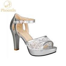 Phoentin 2020 الصيف شبكة النساء عالية الصنادل صنادل أرضية فضية حزام المرقعة بولي leather جلد امرأة اللمحة حذاء مزود بفتحة للأصابع مثير FT620