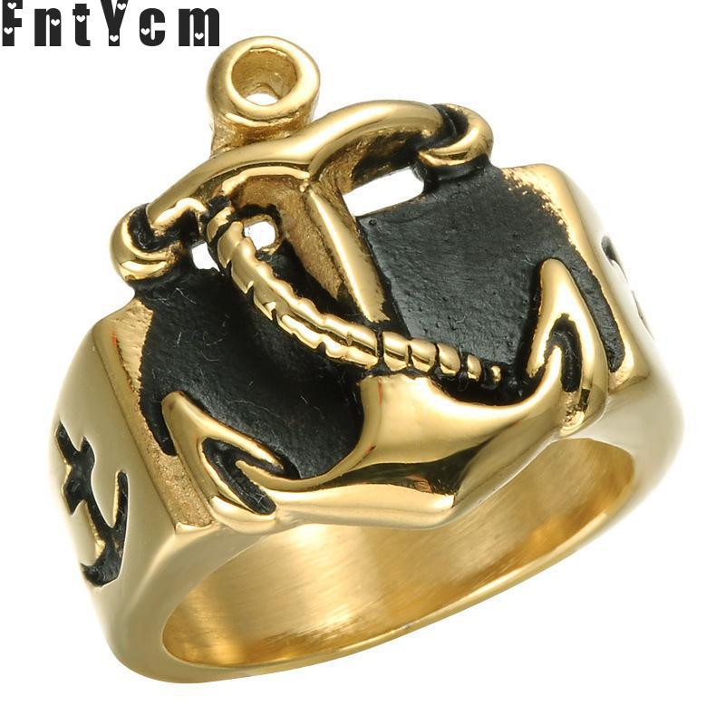 Fnt Ycm Punk Black Ring Men Fashion And Creative Titanium Steel Casting Anchor Ring Tidal Current Navigation Ring