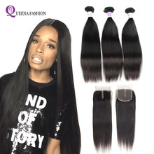 Cambodian Straight Hair Bundles With Closure Natural Color 100% Human Hair Bundles With Lace Closure Free/Middle/Three Part(China)