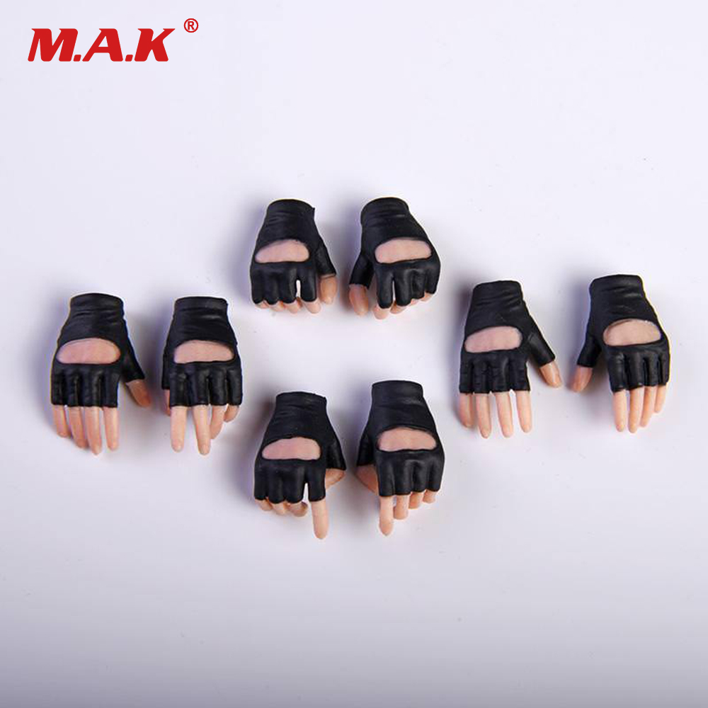 4 pairs/Set 1:6 Scale Woman Accessories Gloves Hand White Grip Gun Hand Model Pale Skin for Female Gril Action Figure