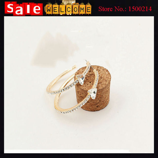 Gold Plated Big Earrings Trendy Fashion Jewelry Wholesale Round Large Size Hoop Earrings With Crystal Heart for Women