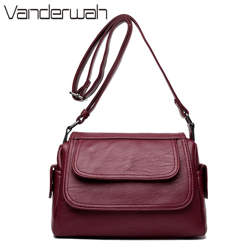 VANDERWAH HOT Leather Small  Bags Handbags Women Famous Brands Women Messenger shoulder crossbody Bag High Quality Handbags SAC демисезонные ботинки ecco 522004 53859