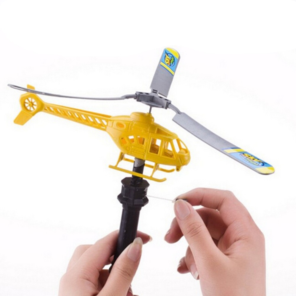 DIY Assembly <font><b>Aircraft</b></font> Aviation <font><b>Model</b></font> Copter Handle Pull RC Helicopter Plane Outdoor Toys for Children Playing Drone Gift Random image