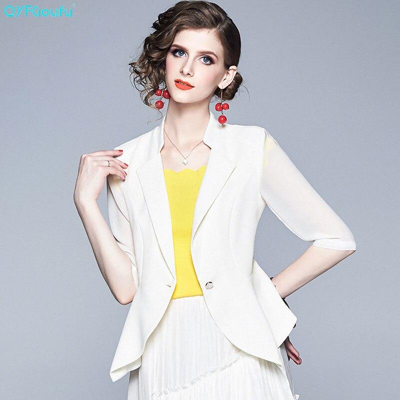QYFCIOUFU 2019 été mode blanc grande taille Blazer femmes veste Rregular manteau femme vêtements piste femmes costumes
