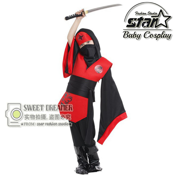 Ninja Boys Costume Child Samurai Warrior Anime Cosplay Fancy Costume for Carnival or Halloween Party Dressing Up 4pcs gothic halloween artificial devil vampire teeth cosplay prop for fancy ball party show