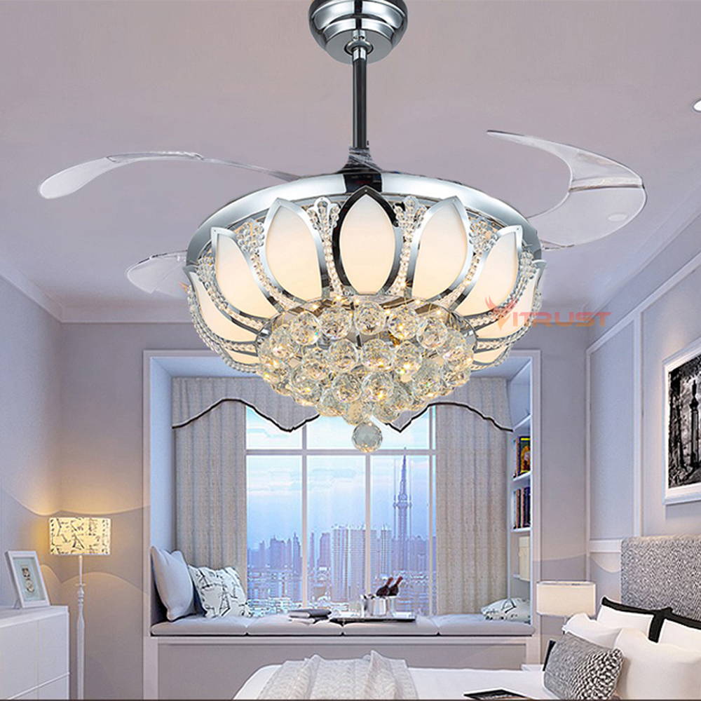 K9 Crystal Ceiling Fan Light LED Lamp European Bedroom with Remote Control 42 Inch