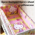 Promotion! 6PCS Hello Kitty 100% Cotton Baby Nursery Cot Crib Bedding Set Baby Bumper for Girls (bumpers+sheet+pillow cover)