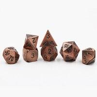 Dungeons & Dragons 7 adet/takım Yaratıcı RPG Zar D & D Metal Zar DND oyun Zar Kaplama Antik Kırmızı Bakır D4 D6 D8 D10 D12 D20