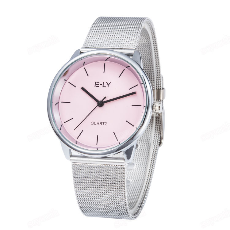 Hot Sale Colorful Dial Sliver Mesh Stainless Steel Watch Women Ladies Casual Dress Quartz Wristwatches Relogio Feminino E810-1