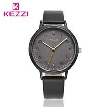 Moda KEZZI marca mujeres waches señoras correa de cuero relojes de pulsera relojes de cuarzo para las mujeres y los hombres
