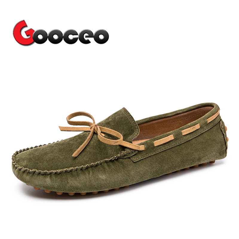 Men's Loafers Moccasins Flats Driving Doug Shoes Boat Slip-On For Men Spring Suede Leather Casual Flat Nubuck Handmade Leisure 6