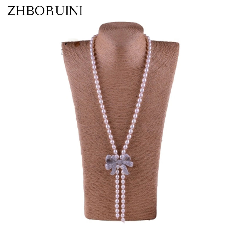 ZHBORUINI 2017 Fashion Long Pearl Necklace Natural Freshwater Pearl Butterfly Bow Pearl Jewelry For Women Necklace Gift zhboruini 2018 fashion pearl necklace freshwater pearl double row bow women statement choker necklace jewelry for women gift