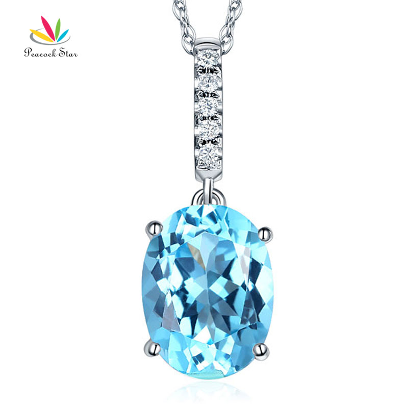 14K White Gold 4.1 Ct Oval Swiss Blue Topaz Pendant Necklace 0.1 Ct Diamond