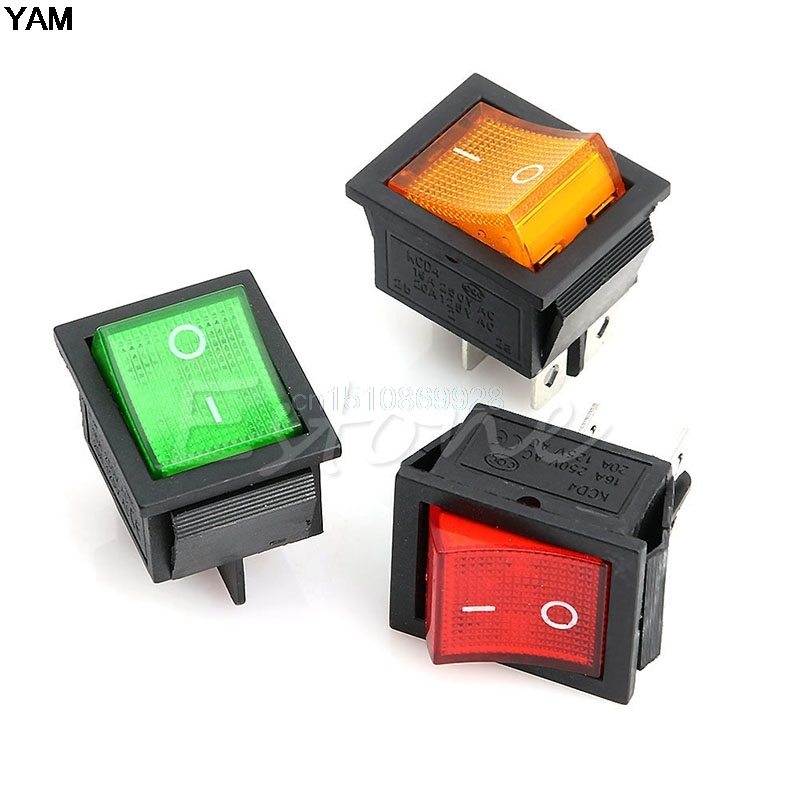 1pc Rocker Switch AC 250V 15A 125V 20A Red Lamp DPST DPDT 4pin 6pin ON-OFF Rocker Switch ac 250v 20a normal close 60c temperature control switch bimetal thermostat