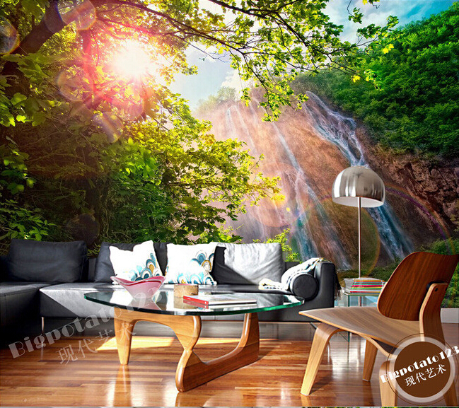 The latest 3D murals,dream of the sun exposure forest trees stone waterfall scenery , living room TV sofa bedroom wall paper the trees trees the garden of jane delawney lp
