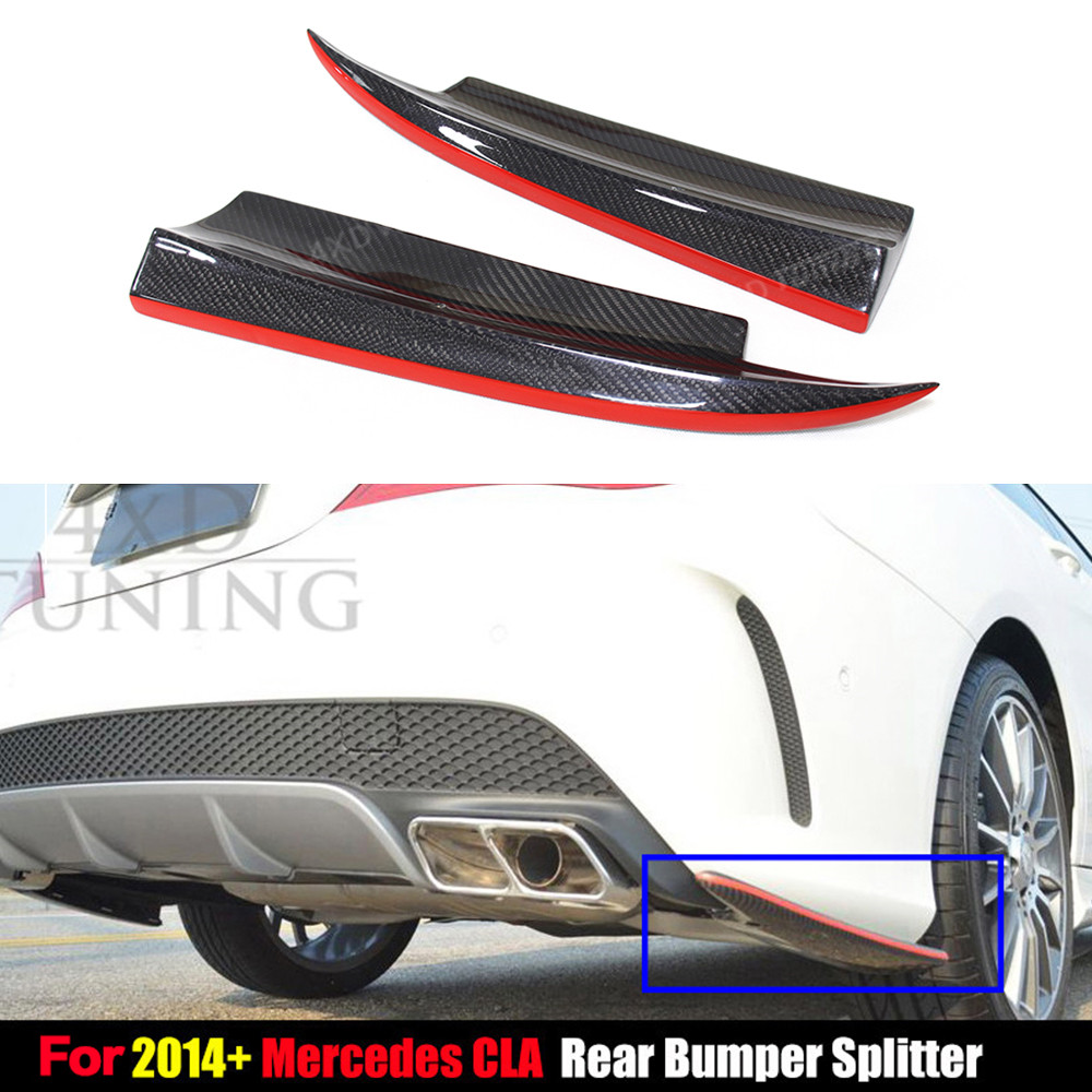 For Mercedes CLA Class Rear Splitter W117 C117 CLA250 CLA260 CLA45 AMG Carbon Fiber Rear Bumper Lip Rear Splitter 2014 2015 2016 mercedes cla w117 carbon fiber fd style cf rear trunk spoiler wing for cla 180 cla200 cla250 2013 2014 2015 2016