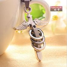 1pc New men's Necklace titanium steel Angel wings Caterpillar bowknot short cross necklace pendants