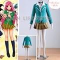 Rosario and Vampire Capu 2 Akashiya Moka Uniform Cosplay Costume Dress cross necklace