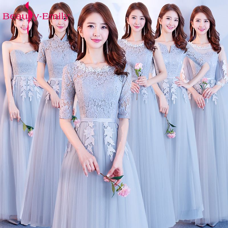 Beauty-Emily Lace   Bridesmaid     Dresses   2018 Hot Sale V-neck Lace A-line Party Gown Formal   Dress   Homecoming   Dresses   Robe De Soiree