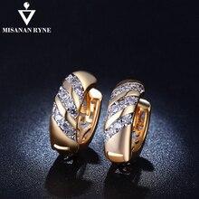 MISANANRYNE Классический дизайн золотой цвет AAA CZ свадебные серьги-кольца для женщин модные украшения дизайн подарок аксессуары
