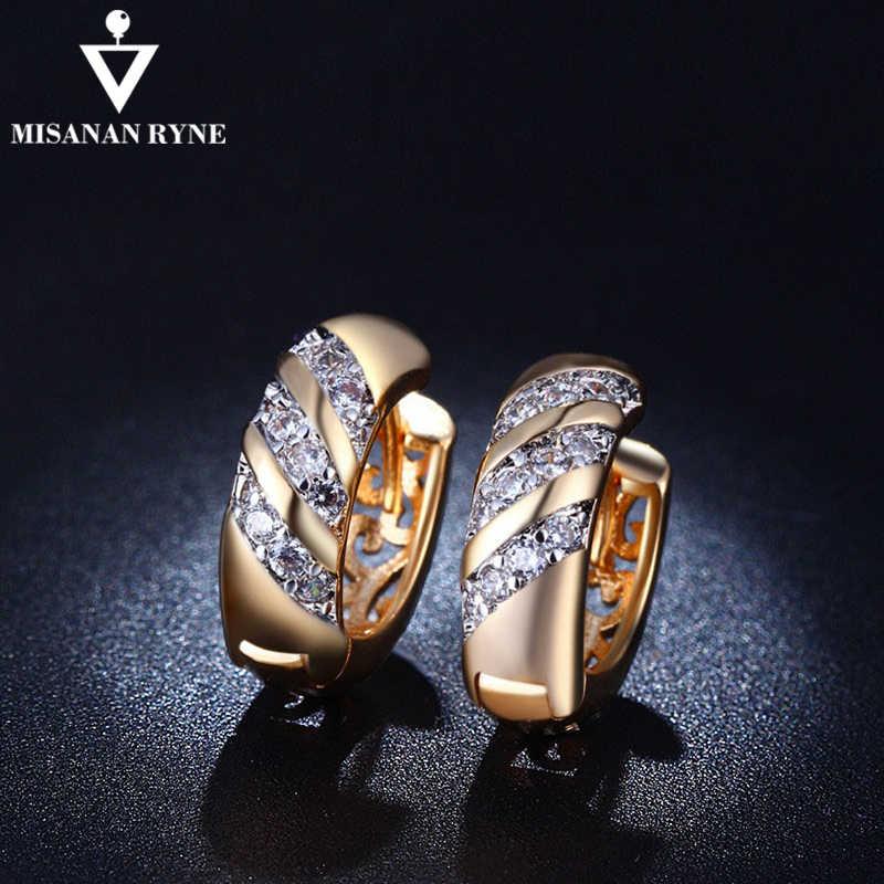 Misananryne design clássico ouro cor aaa cz casamento hoop brincos para as mulheres moda jóias design presente acessórios