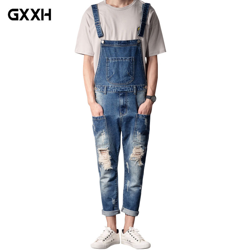 2019 New Style Men s Fashion Dark Blue Denim Overalls Men s Casual Thin Sling Workwear