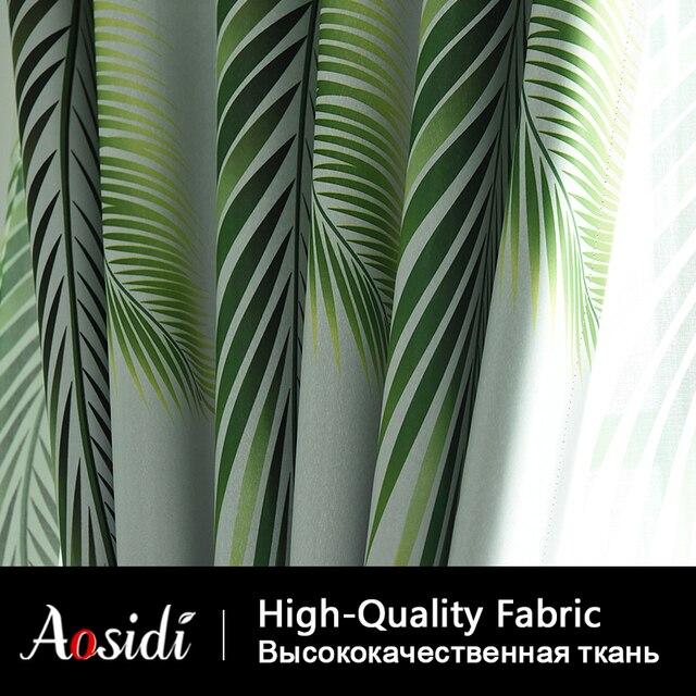 Moderna Foglie Stampato Blackout Tende Per La Camera Da Letto Finestra Trend Grigio Tulle Tende E Tende Per Il Salone 85% di Sole-ombreggiatura 3D