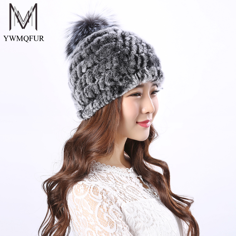 YWMQFUR Real Rex Rabbit fur hats for women winter knitted Rex Rabbit fur cap with fox fur pom poms brand new warm female hat H17 2017 winter fur hat female rex rabbit fur hat with fox fur pom poms fur knitted beanies fashion high quality caps for women hats