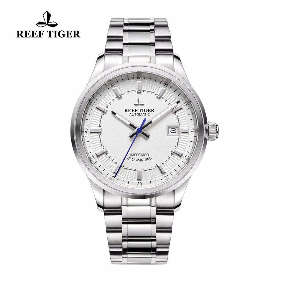 Reef Tiger/RT Business Men Top Grade Luxury Dress Watch Automatic Movement Mens 316L Solid Steel Super Luminous RGA8015