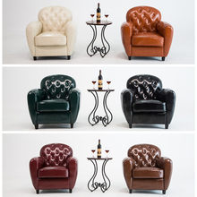 Hot Sale! Retro PU Leather Barrel Tub Chair Armchair Club Bar Coffee Chair Single Sofa Living Room Furniture Wood Legs(China)
