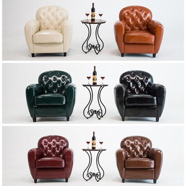Hot Sale! Retro PU Leather Barrel Tub Chair Armchair Club Bar Coffee Chair Single Sofa Living Room Furniture Wood Legs
