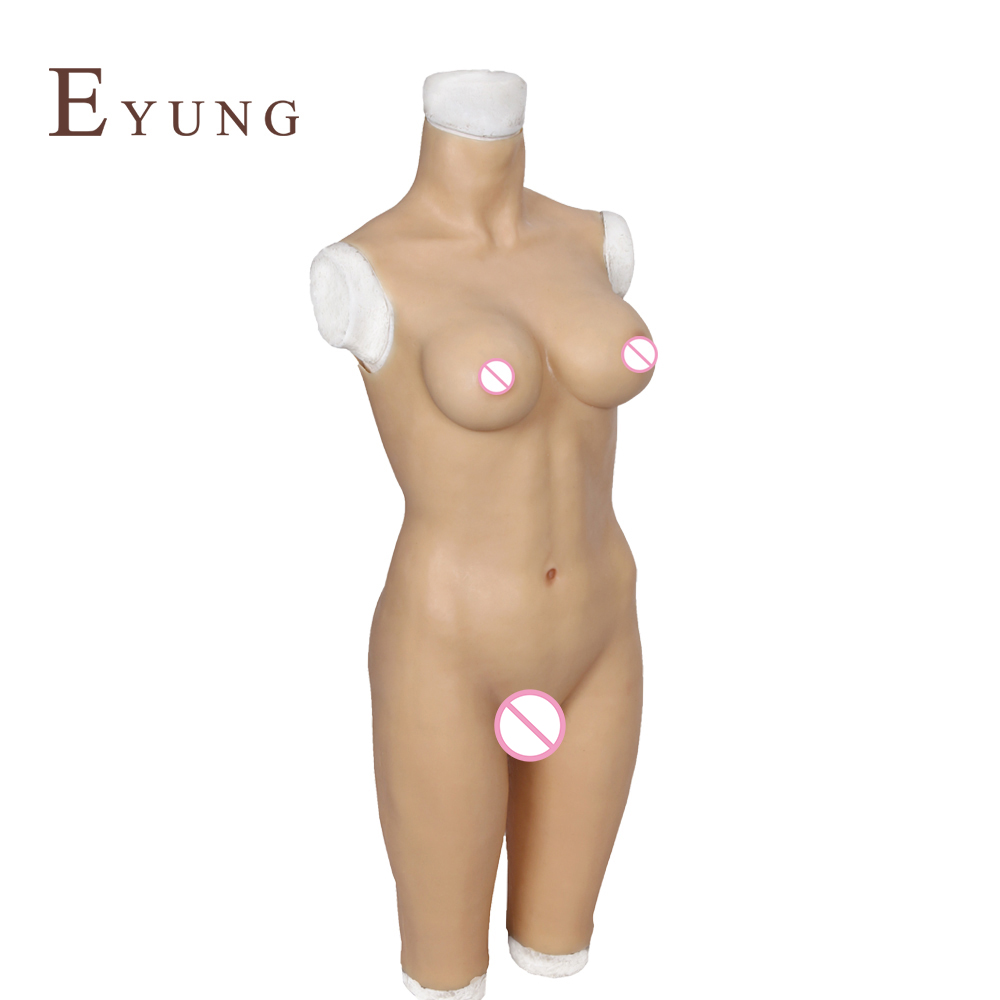 Image 3 - YR B5 S/L Body suit with breast form and fake vagina for drag queen cosplay Zentai suit for crossdresser realistic boobs chest