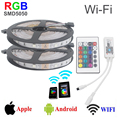 10M 300leds smd5050 rgb led strip wifi control RGB strip lighting rgb dc12v 30led/m Wi-Fi 24key remote controller 5050 led strip