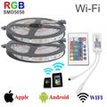 10M 300leds smd5050 rgb led strip wifi control RGB strip lighting rgb dc12v 30led/m Wi-Fi 24key remote controller 5050 led strip